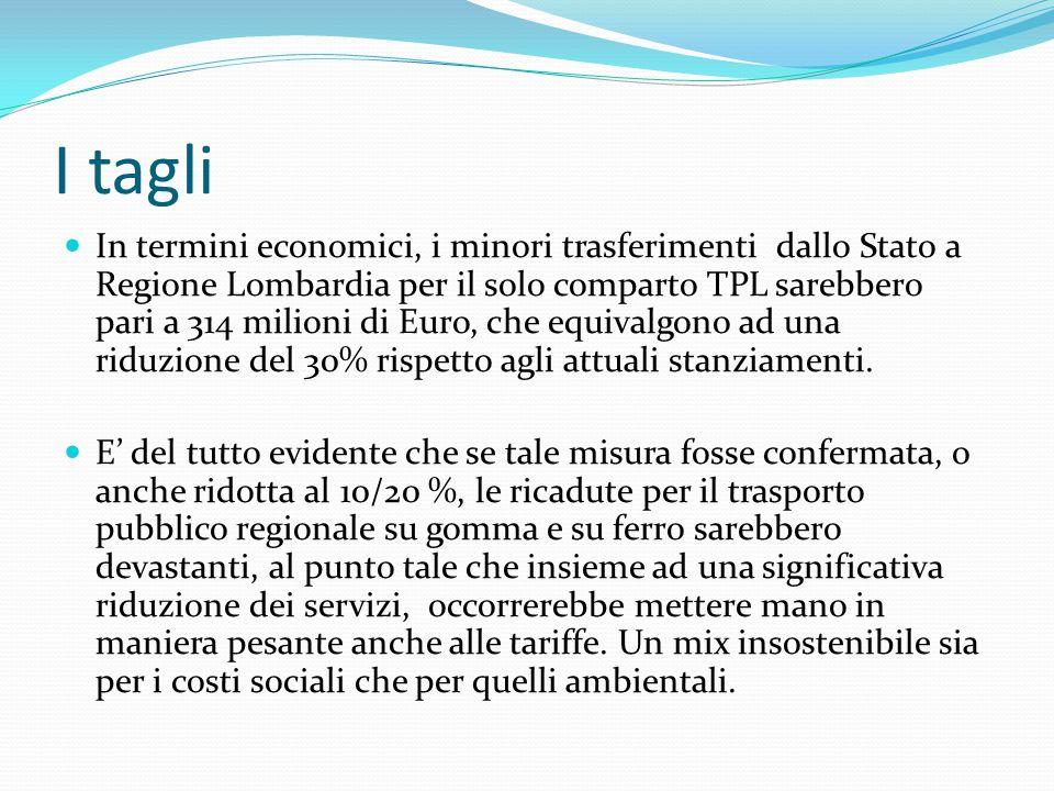 I tagli In termini economici, i minori trasferimenti dallo Stato a Regione Lombardia per il solo comparto TPL sarebbero pari a 314 milioni di Euro, ch