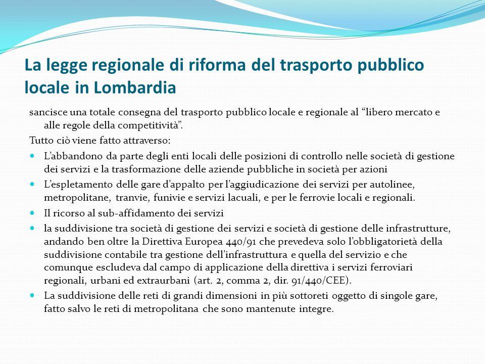 """La legge regionale di riforma del trasporto pubblico locale in Lombardia sancisce una totale consegna del trasporto pubblico locale e regionale al """"li"""