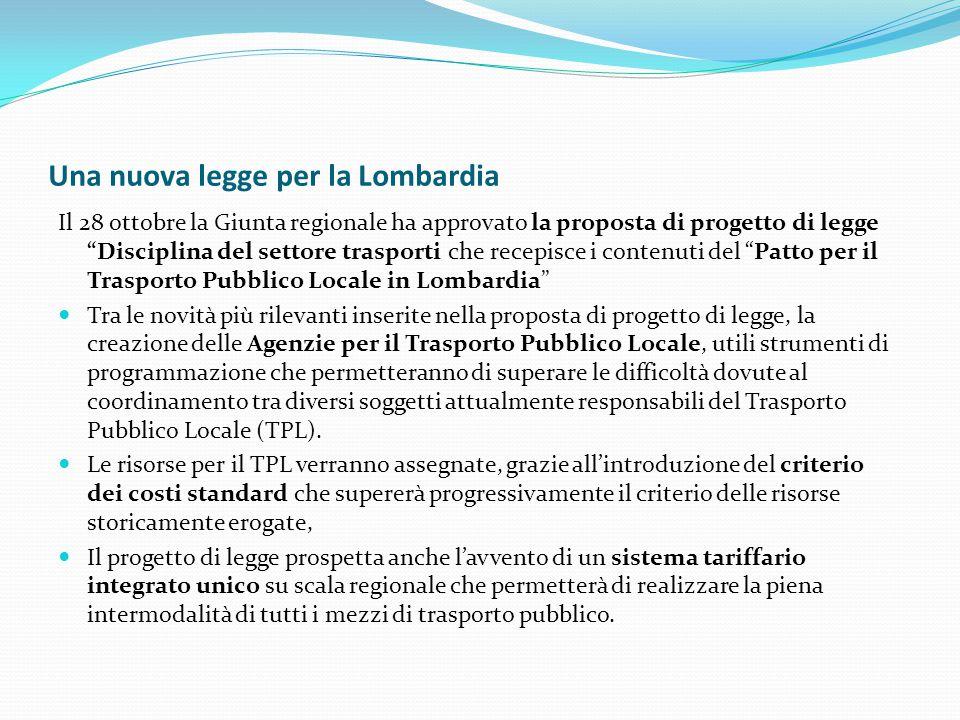 """Una nuova legge per la Lombardia Il 28 ottobre la Giunta regionale ha approvato la proposta di progetto di legge """"Disciplina del settore trasporti che"""