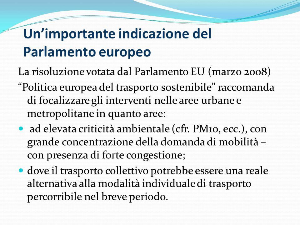 """La risoluzione votata dal Parlamento EU (marzo 2008) """"Politica europea del trasporto sostenibile"""" raccomanda di focalizzare gli interventi nelle aree"""