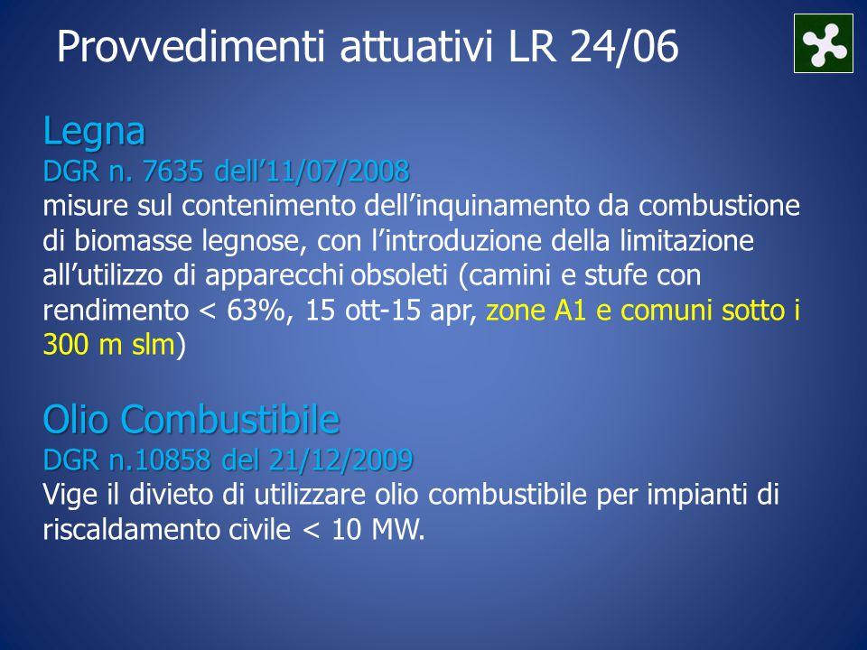 Provvedimenti attuativi LR 24/06 Legna DGR n.