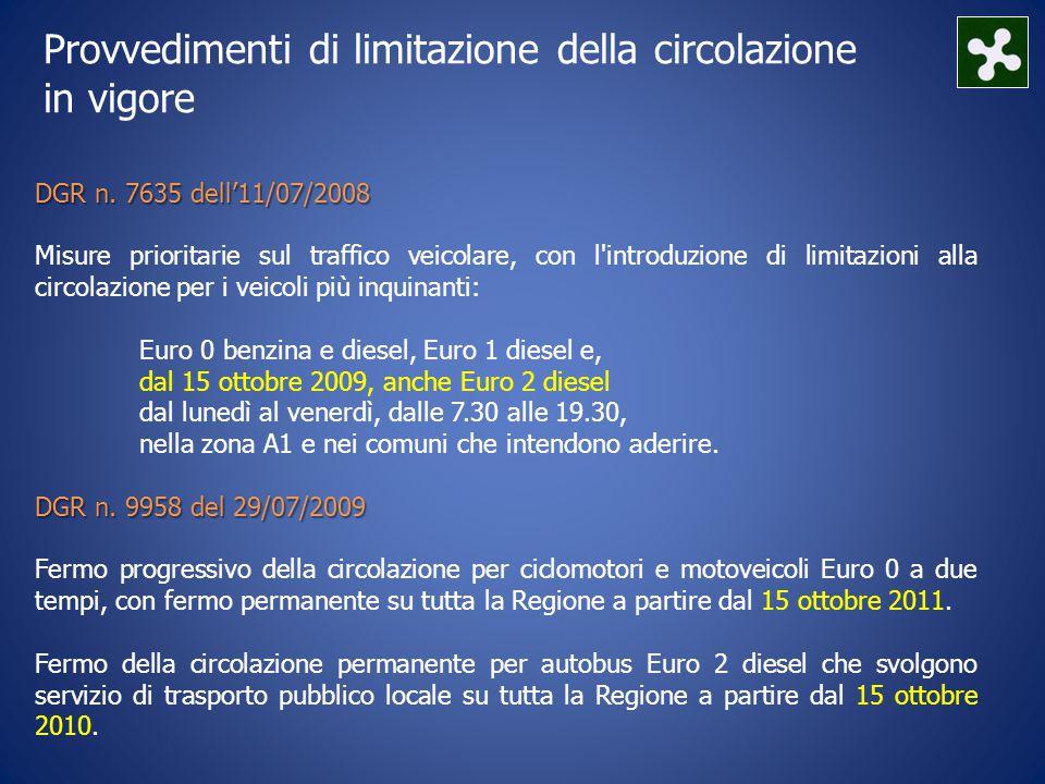 Provvedimenti di limitazione della circolazione in vigore DGR n.