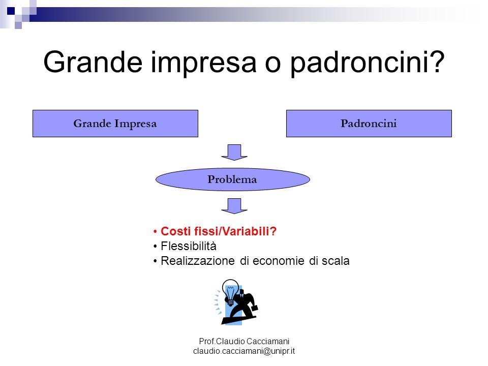 Prof.Claudio Cacciamani claudio.cacciamani@unipr.it Grande impresa o padroncini? Grande ImpresaPadroncini Problema Costi fissi/Variabili? Flessibilità