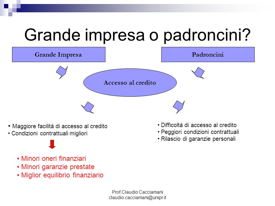 Prof.Claudio Cacciamani claudio.cacciamani@unipr.it Grande impresa o padroncini? Grande ImpresaPadroncini Accesso al credito Maggiore facilità di acce