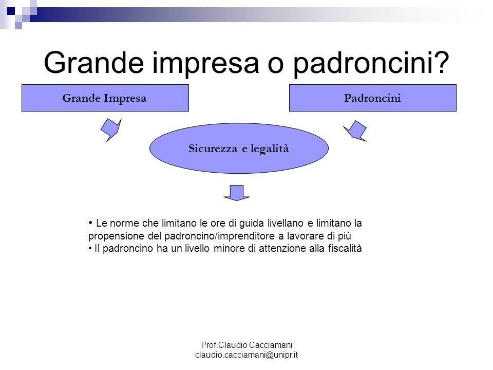 Prof.Claudio Cacciamani claudio.cacciamani@unipr.it Grande impresa o padroncini? Grande ImpresaPadroncini Sicurezza e legalità Le norme che limitano l