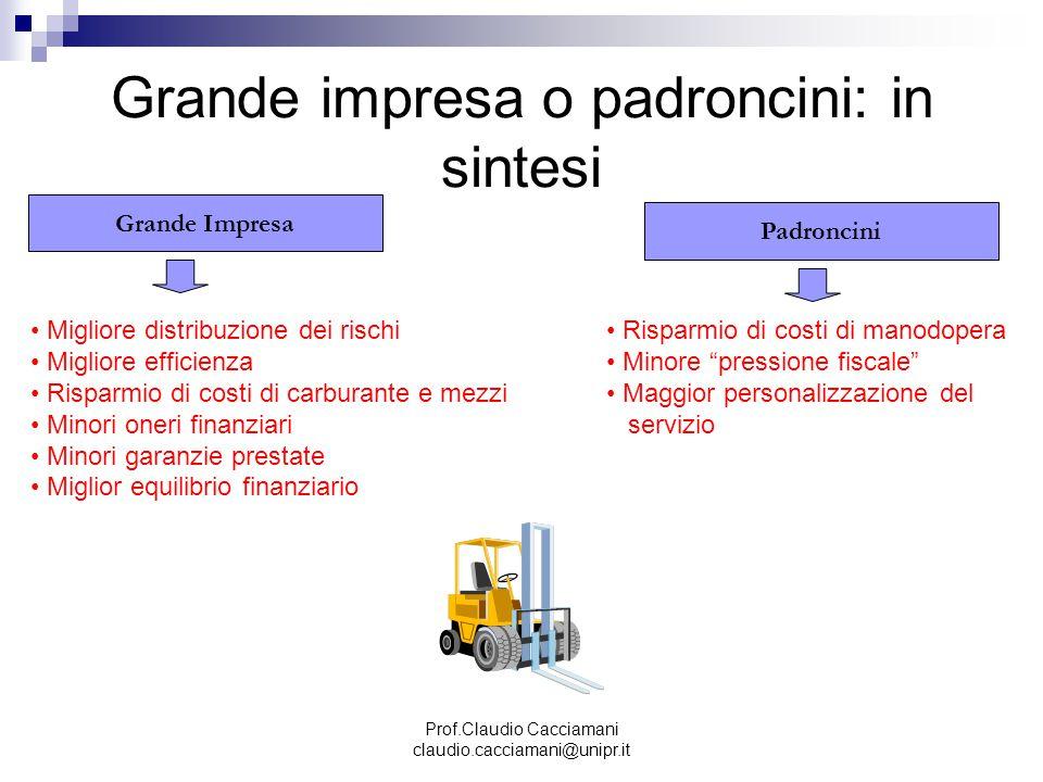 Prof.Claudio Cacciamani claudio.cacciamani@unipr.it Grande impresa o padroncini: in sintesi Grande Impresa Padroncini Migliore distribuzione dei risch