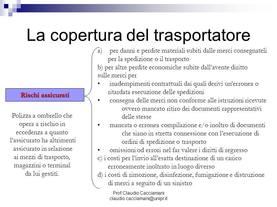 Prof.Claudio Cacciamani claudio.cacciamani@unipr.it La copertura del trasportatore Rischi assicurati a) per danni e perdite materiali subiti dalle mer