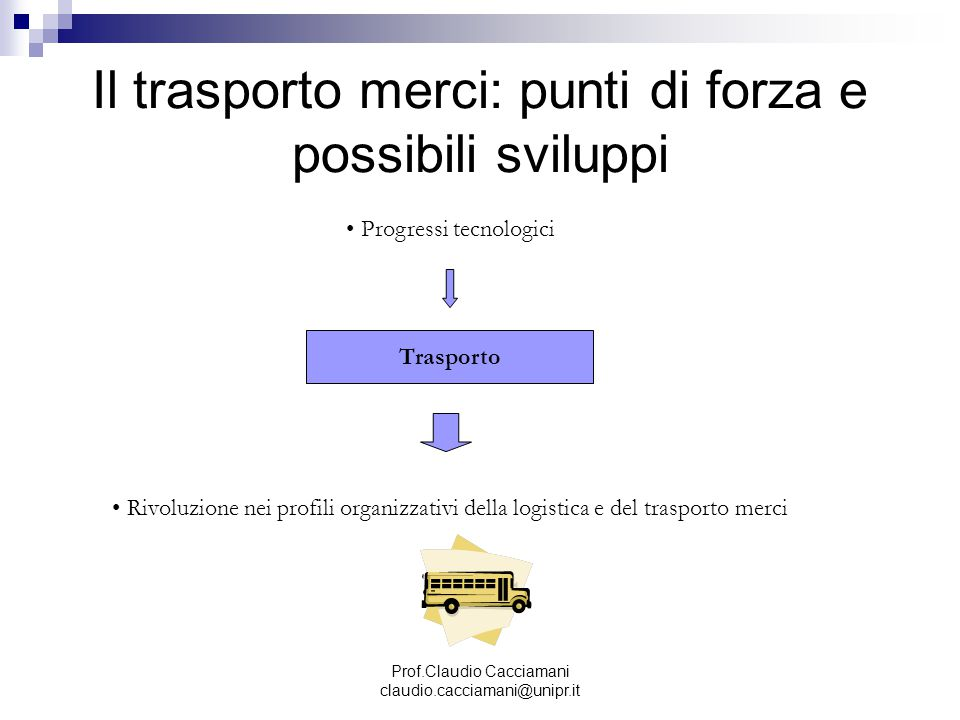 Prof.Claudio Cacciamani claudio.cacciamani@unipr.it Il trasporto merci: punti di forza e possibili sviluppi Trasporto Progressi tecnologici Rivoluzion