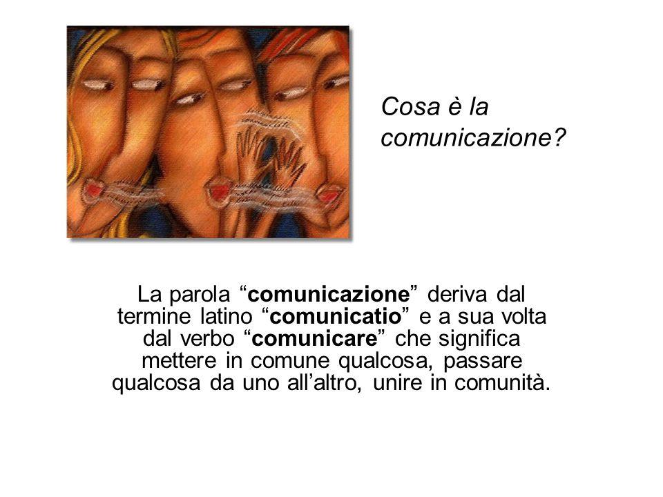 """La parola """"comunicazione"""" deriva dal termine latino """"comunicatio"""" e a sua volta dal verbo """"comunicare"""" che significa mettere in comune qualcosa, passa"""