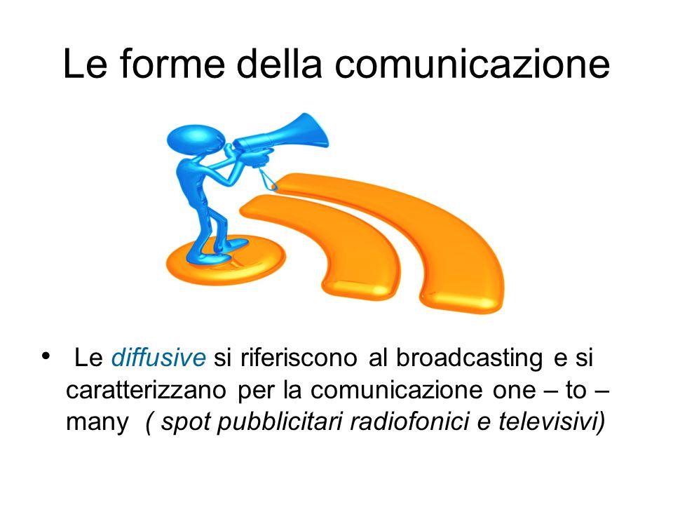 Le forme della comunicazione Le diffusive si riferiscono al broadcasting e si caratterizzano per la comunicazione one – to – many ( spot pubblicitari