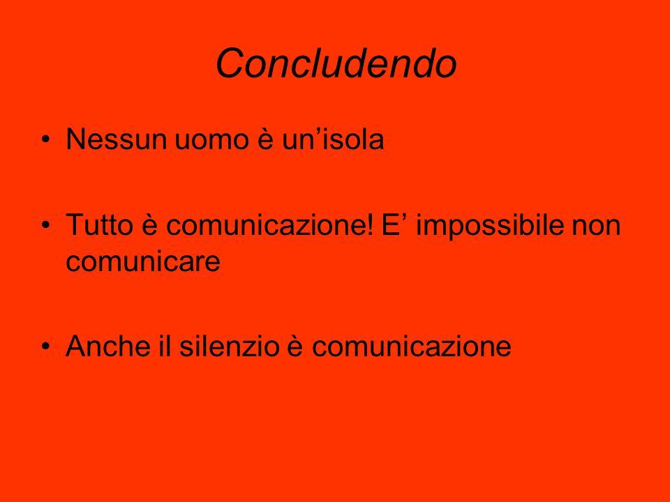 Concludendo Nessun uomo è un'isola Tutto è comunicazione! E' impossibile non comunicare Anche il silenzio è comunicazione
