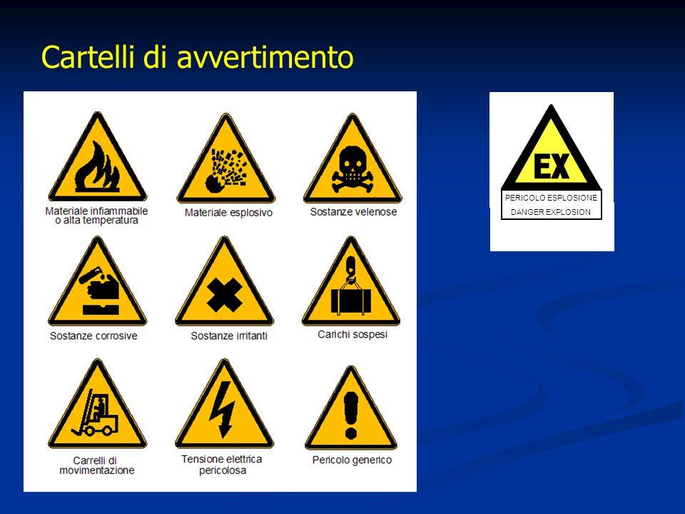 Cartelli di avvertimento PERICOLO ESPLOSIONE DANGER EXPLOSION