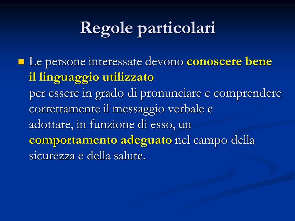 Regole particolari Le persone interessate devono conoscere bene il linguaggio utilizzato per essere in grado di pronunciare e comprendere correttament