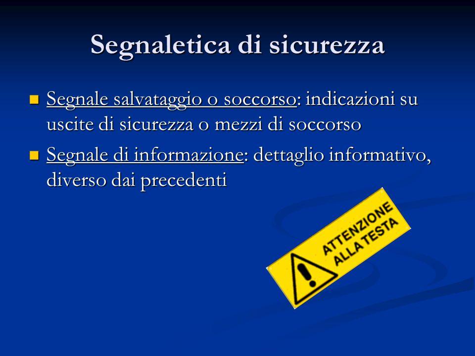 Segnaletica di sicurezza Sono considerati segnali di sicurezza anche segnali acustici segnali acustici segnali luminosi segnali luminosi comunicazione verbale comunicazione verbale segnale gestuale convenzionale segnale gestuale convenzionale