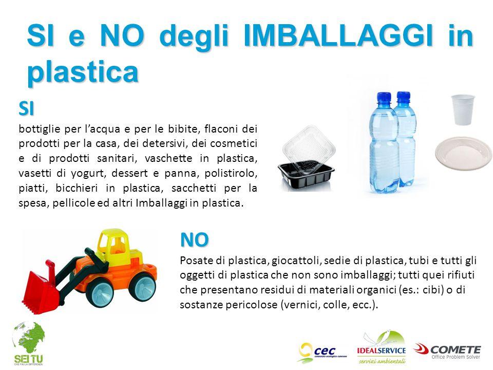 NO Posate di plastica, giocattoli, sedie di plastica, tubi e tutti gli oggetti di plastica che non sono imballaggi; tutti quei rifiuti che presentano