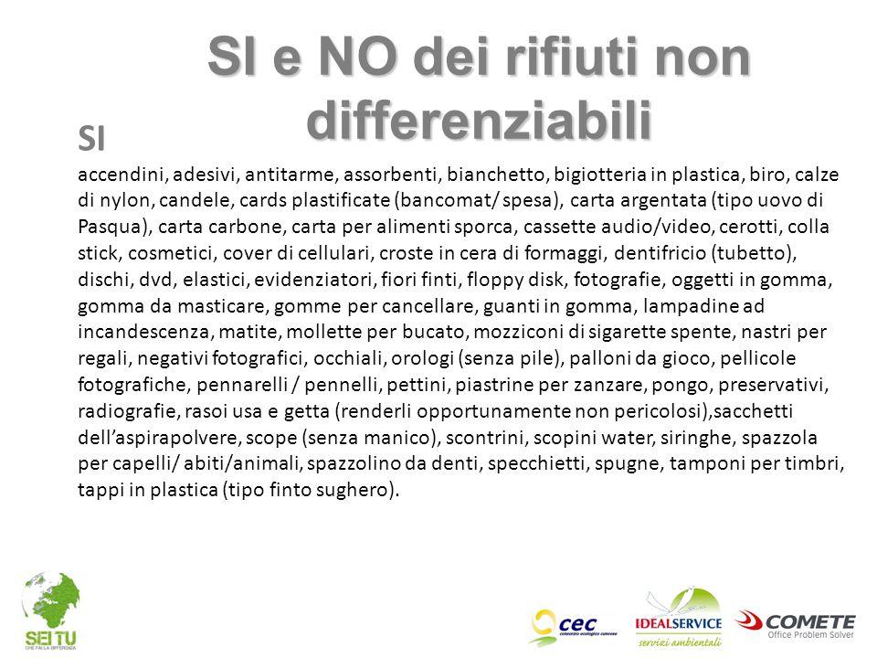 SI e NO dei rifiuti non differenziabili SI accendini, adesivi, antitarme, assorbenti, bianchetto, bigiotteria in plastica, biro, calze di nylon, cande