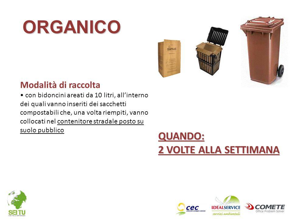 QUANDO: 2 VOLTE ALLA SETTIMANA Modalità di raccolta con bidoncini areati da 10 litri, all'interno dei quali vanno inseriti dei sacchetti compostabili
