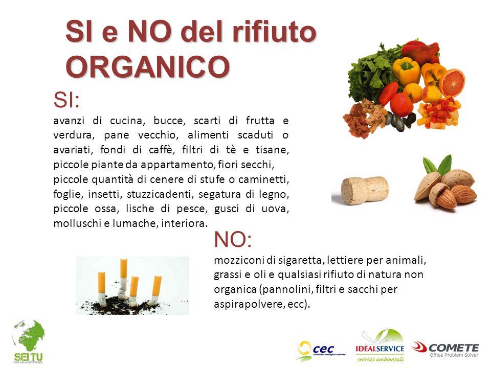 NO: mozziconi di sigaretta, lettiere per animali, grassi e oli e qualsiasi rifiuto di natura non organica (pannolini, filtri e sacchi per aspirapolver