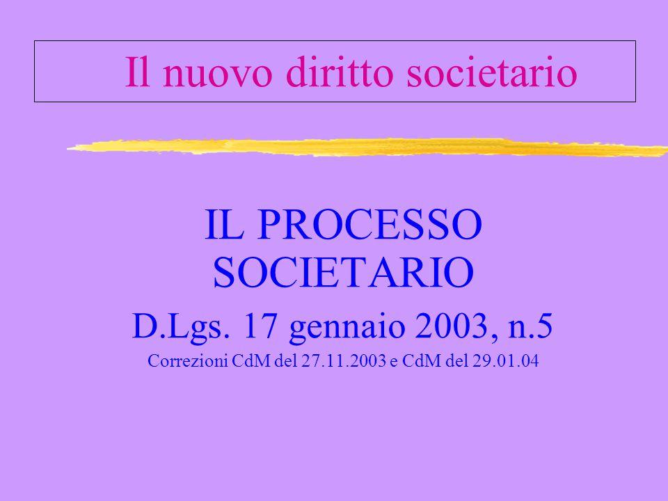 Il nuovo diritto societario IL PROCESSO SOCIETARIO D.Lgs.