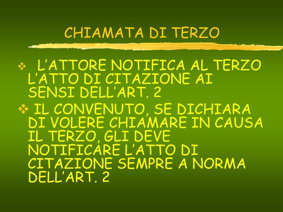 CHIAMATA DI TERZO  L'ATTORE NOTIFICA AL TERZO L'ATTO DI CITAZIONE AI SENSI DELL'ART.
