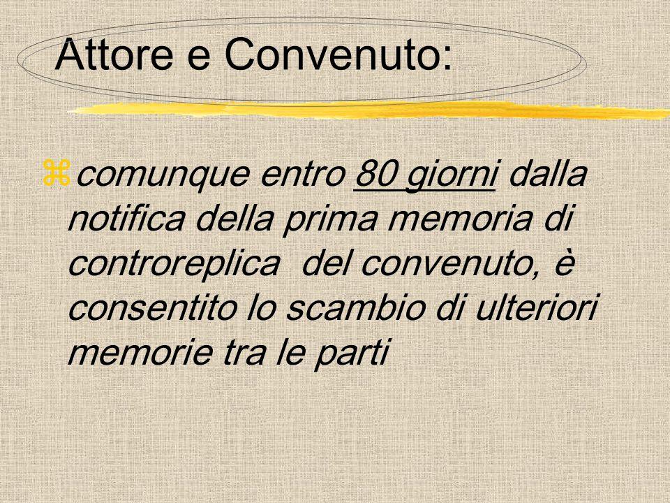 Attore e Convenuto:  comunque entro 80 giorni dalla notifica della prima memoria di controreplica del convenuto, è consentito lo scambio di ulteriori memorie tra le parti