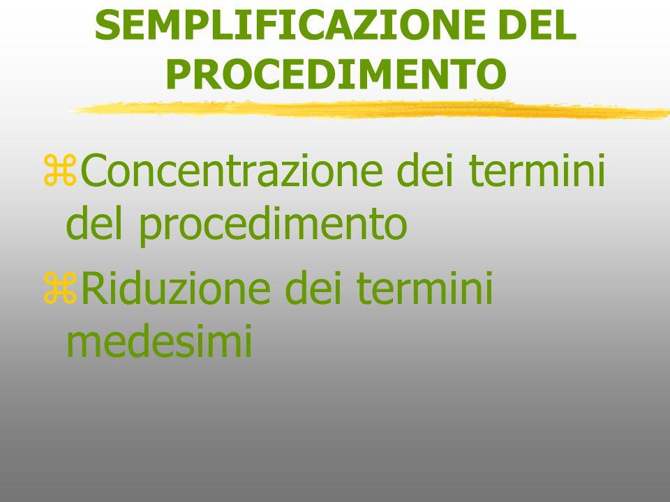 SEMPLIFICAZIONE DEL PROCEDIMENTO zConcentrazione dei termini del procedimento zRiduzione dei termini medesimi