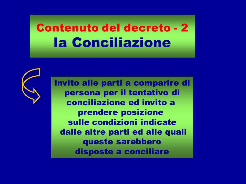 Contenuto del decreto - 2 la Conciliazione Invito alle parti a comparire di persona per il tentativo di conciliazione ed invito a prendere posizione sulle condizioni indicate dalle altre parti ed alle quali queste sarebbero disposte a conciliare