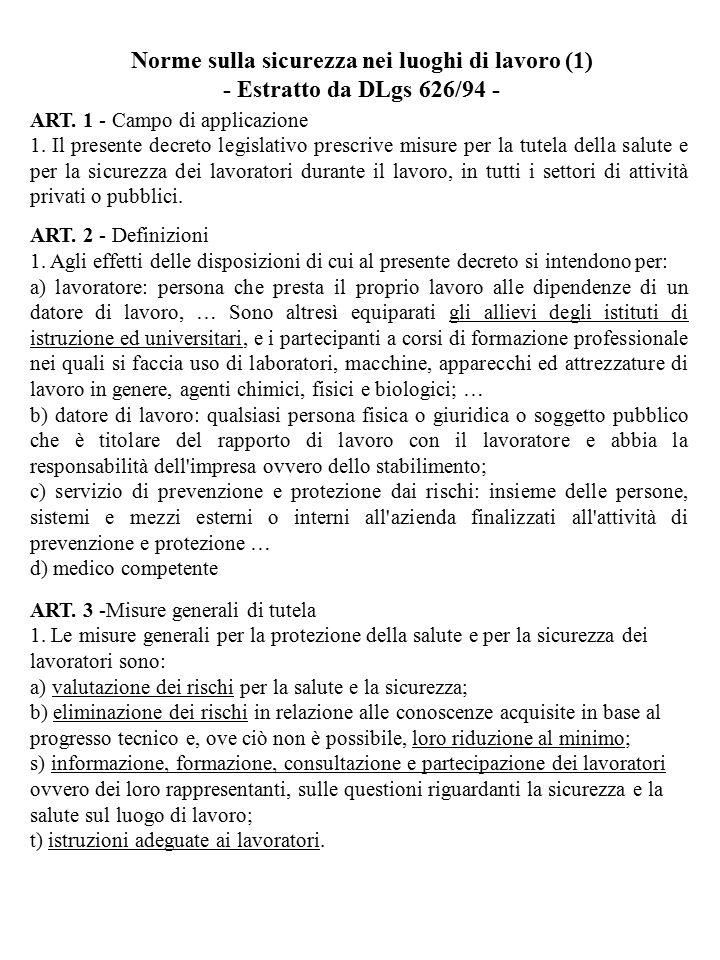 ART. 1 - Campo di applicazione 1. Il presente decreto legislativo prescrive misure per la tutela della salute e per la sicurezza dei lavoratori durant