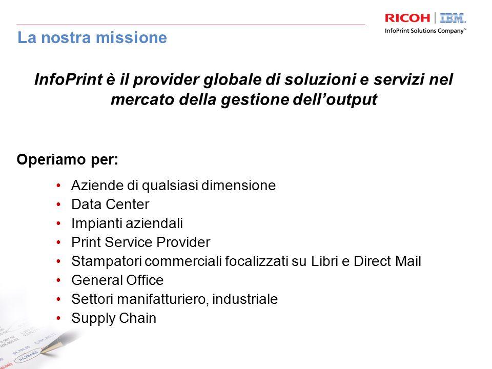 La nostra missione Aziende di qualsiasi dimensione Data Center Impianti aziendali Print Service Provider Stampatori commerciali focalizzati su Libri e
