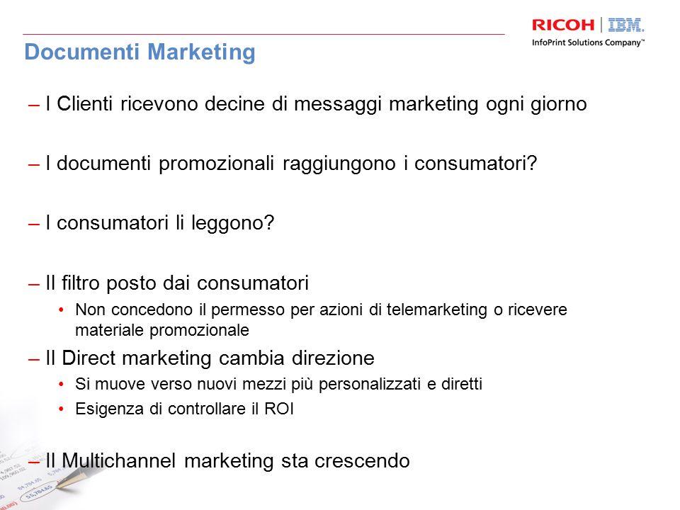 Documenti Marketing –I Clienti ricevono decine di messaggi marketing ogni giorno –I documenti promozionali raggiungono i consumatori? –I consumatori l