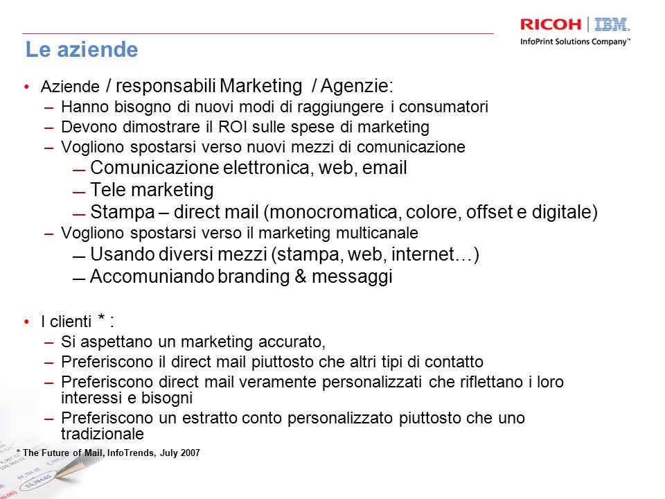 Le aziende Aziende / responsabili Marketing / Agenzie: –Hanno bisogno di nuovi modi di raggiungere i consumatori –Devono dimostrare il ROI sulle spese di marketing –Vogliono spostarsi verso nuovi mezzi di comunicazione Comunicazione elettronica, web, email Tele marketing Stampa – direct mail (monocromatica, colore, offset e digitale) –Vogliono spostarsi verso il marketing multicanale Usando diversi mezzi (stampa, web, internet…) Accomuniando branding & messaggi I clienti * : –Si aspettano un marketing accurato, –Preferiscono il direct mail piuttosto che altri tipi di contatto –Preferiscono direct mail veramente personalizzati che riflettano i loro interessi e bisogni –Preferiscono un estratto conto personalizzato piuttosto che uno tradizionale * The Future of Mail, InfoTrends, July 2007
