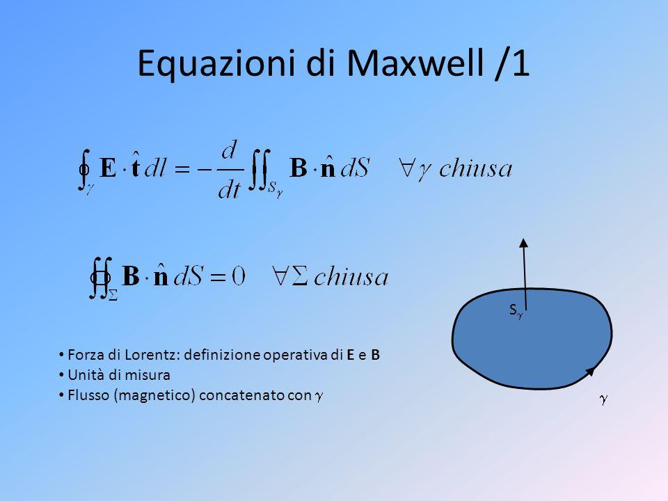 Equazioni di Maxwell /1  SS Forza di Lorentz: definizione operativa di E e B Unità di misura Flusso (magnetico) concatenato con 