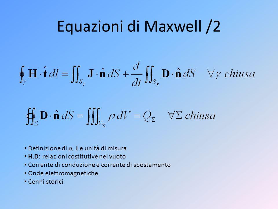 Equazioni di Maxwell /2 Definizione di , J e unità di misura H,D: relazioni costitutive nel vuoto Corrente di conduzione e corrente di spostamento On