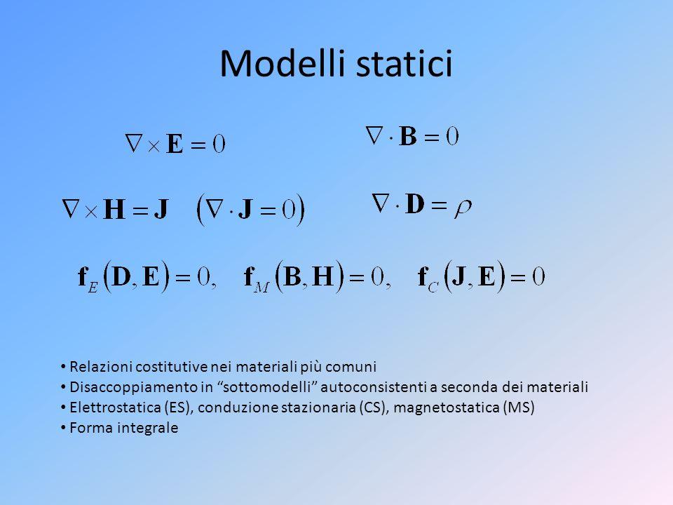 """Modelli statici Relazioni costitutive nei materiali più comuni Disaccoppiamento in """"sottomodelli"""" autoconsistenti a seconda dei materiali Elettrostati"""