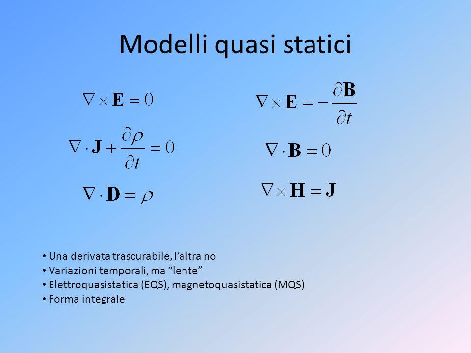 """Modelli quasi statici Una derivata trascurabile, l'altra no Variazioni temporali, ma """"lente"""" Elettroquasistatica (EQS), magnetoquasistatica (MQS) Form"""