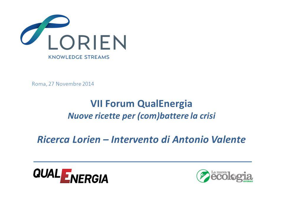 Roma, 27 Novembre 2014 VII Forum QualEnergia Nuove ricette per (com)battere la crisi Ricerca Lorien – Intervento di Antonio Valente