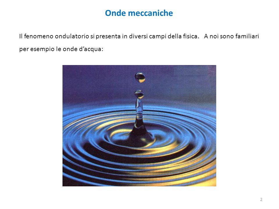 Onde meccaniche Il fenomeno ondulatorio si presenta in diversi campi della fisica. A noi sono familiari per esempio le onde d'acqua: 2
