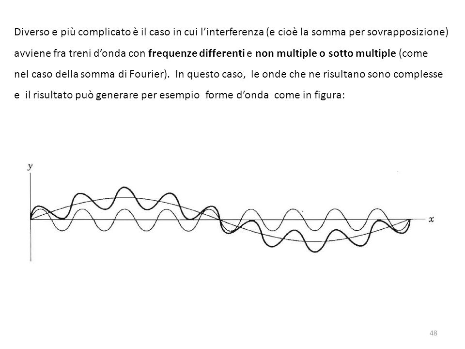 Diverso e più complicato è il caso in cui l'interferenza (e cioè la somma per sovrapposizione) avviene fra treni d'onda con frequenze differenti e non multiple o sotto multiple (come nel caso della somma di Fourier).