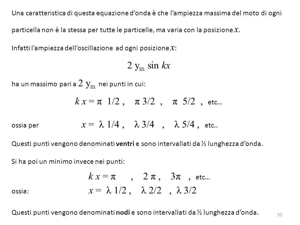 Una caratteristica di questa equazione d'onda è che l'ampiezza massima del moto di ogni particella non è la stessa per tutte le particelle, ma varia c