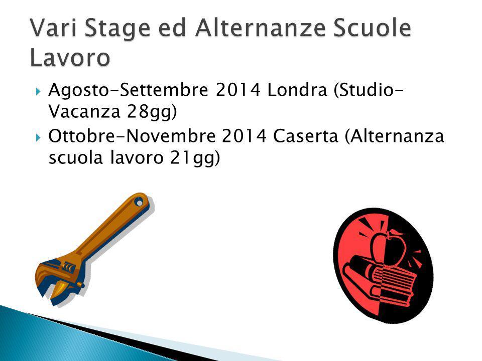  Agosto-Settembre 2014 Londra (Studio- Vacanza 28gg)  Ottobre-Novembre 2014 Caserta (Alternanza scuola lavoro 21gg)