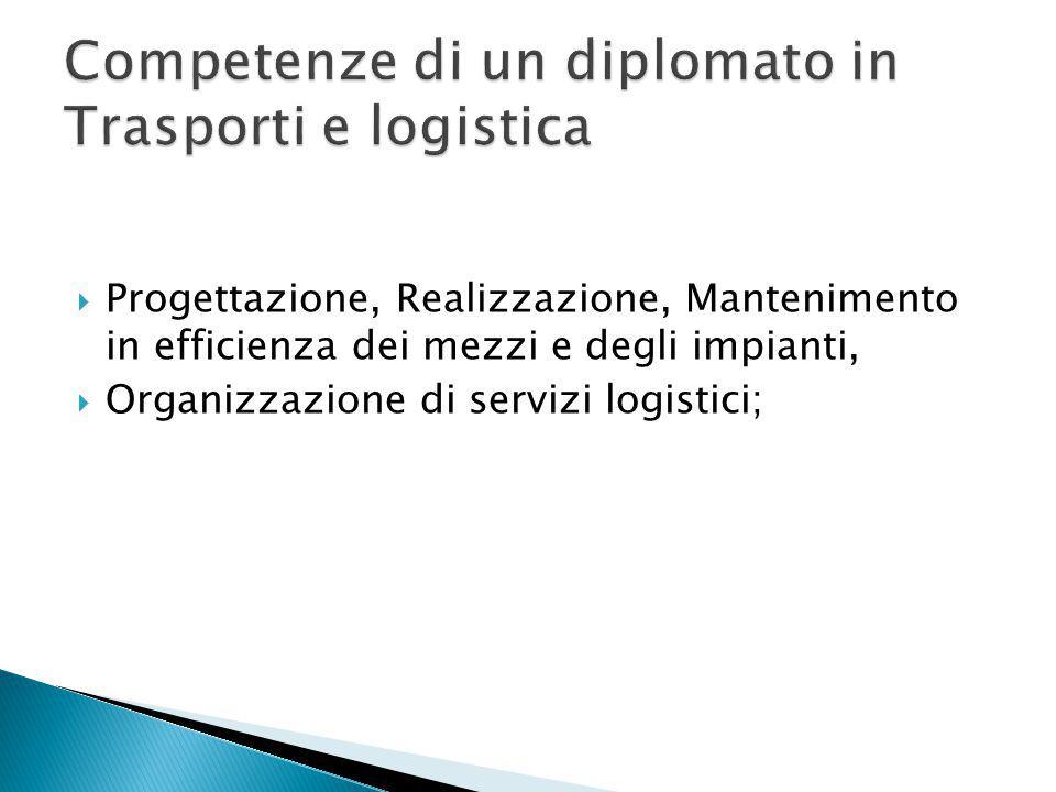  Progettazione, Realizzazione, Mantenimento in efficienza dei mezzi e degli impianti,  Organizzazione di servizi logistici;