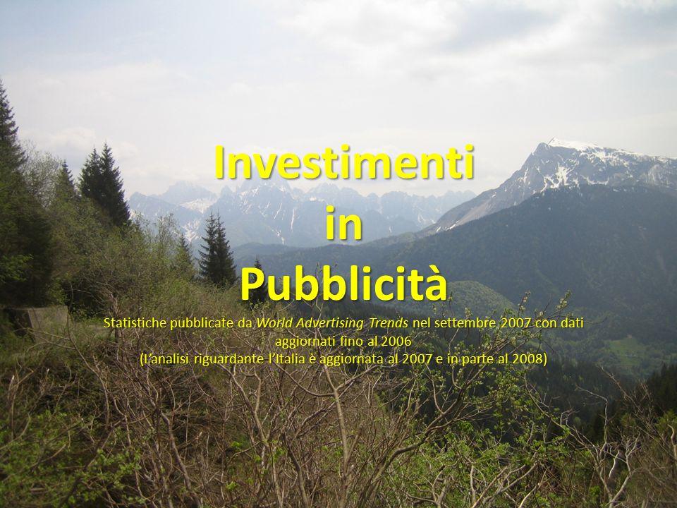 InvestimentiinPubblicità Statistiche pubblicate da World Advertising Trends nel settembre 2007 con dati aggiornati fino al 2006 (L'analisi riguardante