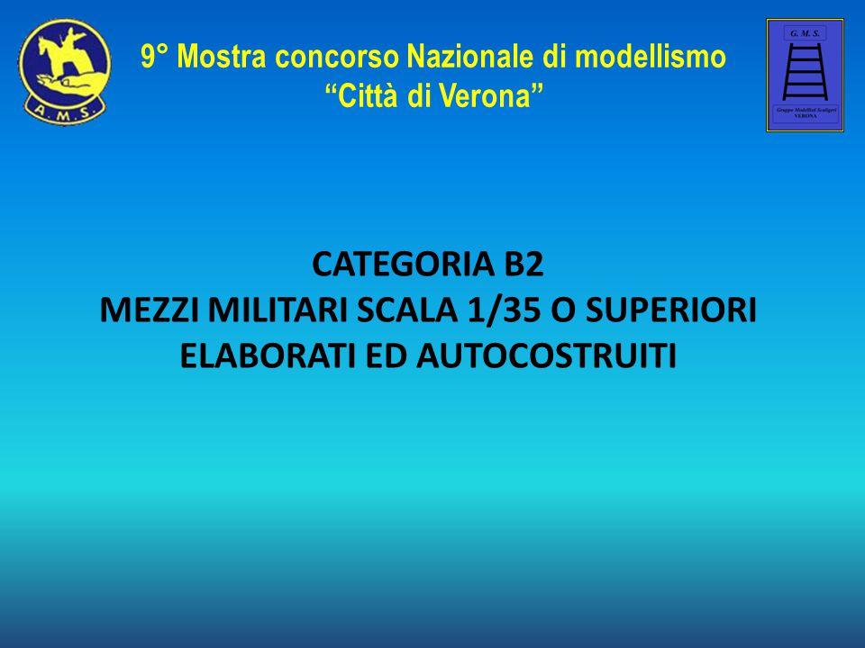 CATEGORIA B2 MEZZI MILITARI SCALA 1/35 O SUPERIORI ELABORATI ED AUTOCOSTRUITI 9° Mostra concorso Nazionale di modellismo Città di Verona