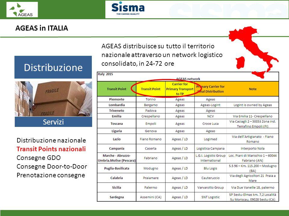 AGEAS in ITALIA Distribuzione Servizi Distribuzione nazionale Transit Points nazionali Consegne GDO Consegne Door-to-Door Prenotazione consegne AGEAS