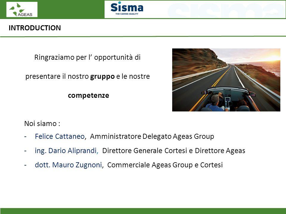 INTRODUCTION Ringraziamo per l' opportunità di presentare il nostro gruppo e le nostre competenze Noi siamo : -Felice Cattaneo, Amministratore Delegat