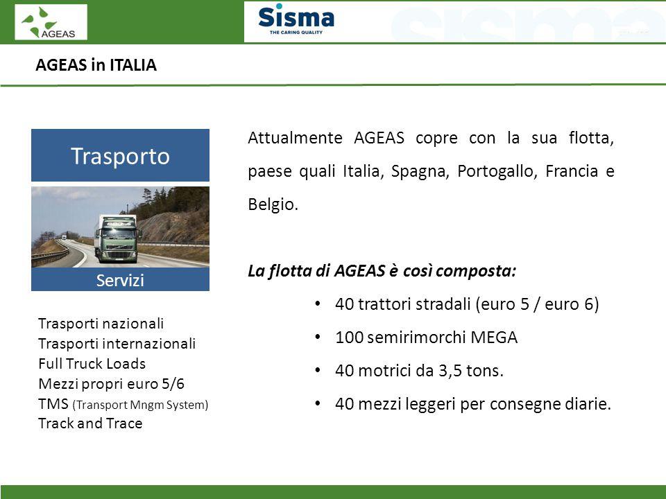 AGEAS in ITALIA Trasporto Servizi Trasporti nazionali Trasporti internazionali Full Truck Loads Mezzi propri euro 5/6 TMS (Transport Mngm System) Trac
