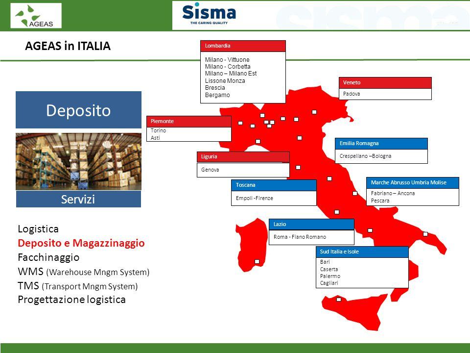 AGEAS in ITALIA Deposito Servizi Logistica Deposito e Magazzinaggio Facchinaggio WMS (Warehouse Mngm System) TMS (Transport Mngm System) Progettazione