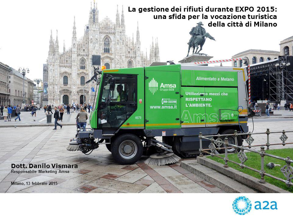 La gestione dei rifiuti durante EXPO 2015: una sfida per la vocazione turistica della città di Milano Milano, 13 febbraio 2015 Dott.