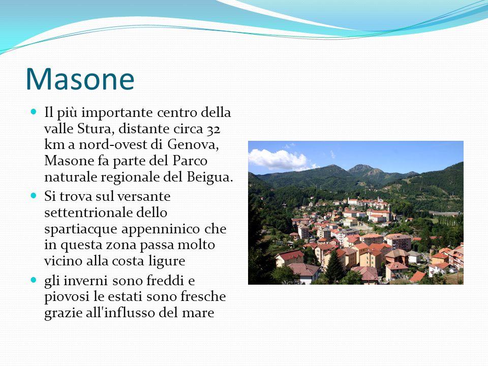 Masone Il più importante centro della valle Stura, distante circa 32 km a nord-ovest di Genova, Masone fa parte del Parco naturale regionale del Beigua.