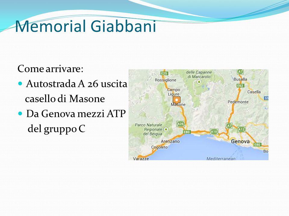 Memorial Giabbani Come arrivare: Autostrada A 26 uscita casello di Masone Da Genova mezzi ATP del gruppo C